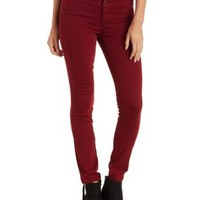 Wine Hi-Waist Super Skinny Colored Jeans by Charlotte Russe