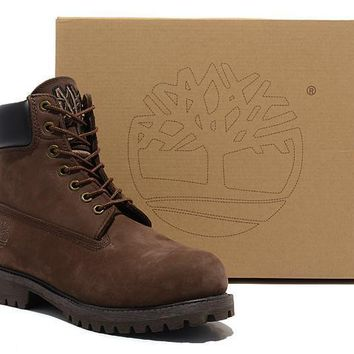 Men's Timberland Icon 6-inch Premium Classic Dark Chocolate Nubuck Waterproof Boots