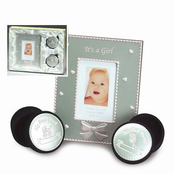 Pink Enameled Aluminum Photo Frame/Tooth & Curl Box Set - Engravable Gift Item