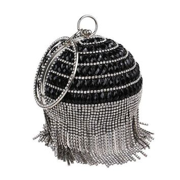 Family Friends party Board game 2018 New Circular Women Clutch Tassel Rhinestones Evening Bags Acrylic Beaded Chain Shoulder Purse Evening Bag For Party Wedding AT_41_3