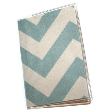 Passport Cover / Holder / Case - Chevron --  Blue Natural -- Zig Zag