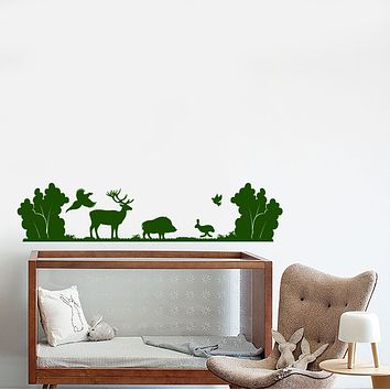 Vinyl Wall Decal Forest Animals Deer Boar Hare Nature Landscape Stickers (3268ig)