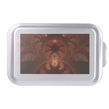 Luminous abstract modern orange red Fractal Cake Pan
