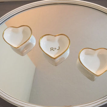 Porcelain jewelry/ring dish ( hand dipped edges in gold)