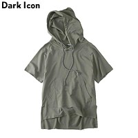 Off Shoulder Men Sweatshirts and Hoodies Short Sleeve Loose Solid Color Hip Hop Hoodie