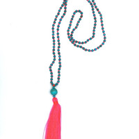 Turquoise Bead and Neon Pink Tassel Necklace