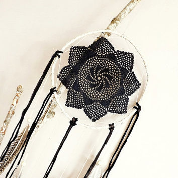 Dream catcher, large, dreamcatcher, crochet, doily, wall decoration, neutral, black, boho, wall hanging, wall decor, handmade, room decor