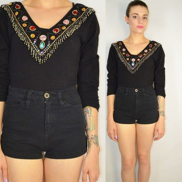 90s Bodysuit 80s Jewel Beaded Fringe Soft Grunge Med Glam Hipster Black Vintage Womens Clothing Long Sleeve Sequin Small Medium