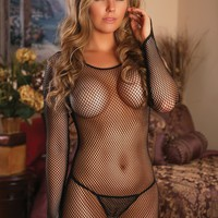 Fishnet Long Sleeve Dress and G-string
