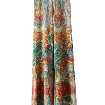 Paisley Printed Squared Long Pants
