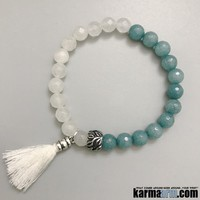 PEACEFUL: White | Blue Jade | Tassel | Yoga Chakra Bracelet