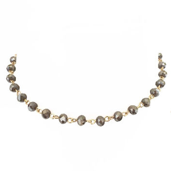 Heavenly Dream Crystal Bead Choker In Pewter