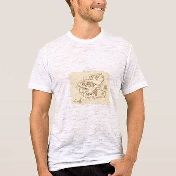 Pirate Treasure Map Sailing Ship Drawing T-Shirt