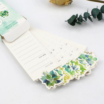 30pc/box kawaii diy glass leaf memo pad flower paper bookmark stationery for books holder message card school supplies papelaria