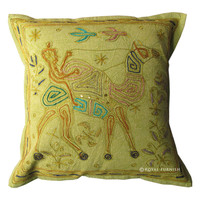 Green India Camel Hand Embroidered Throw Pillow Sham
