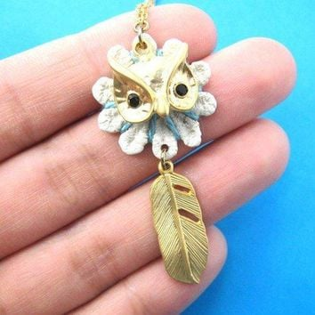 Beautiful Owl Feather Animal Charm in Gold on SALE | DOTOLY