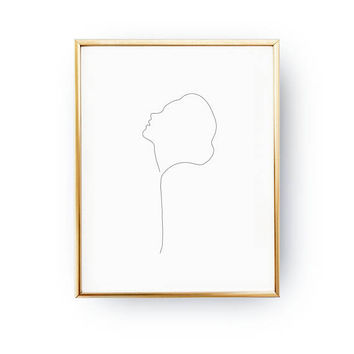 Woman With Head Raised, Minimalist Silhouette, Single Line, Simple Sketch, Line Drawing Print, Female Art, Black And White, Minimalist Art