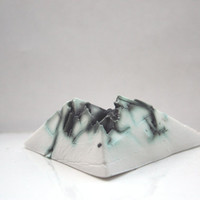 Decorative stoneware triangular pyramid from English fine bone china with a unique texture paper weight
