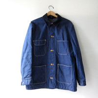 Vintage Sanforized Denim Chore Jacket. Denim Jean Jacket. Pioneer Denim Blanket Coat.