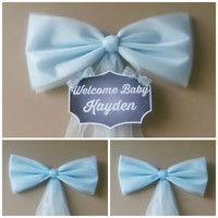 Boy Baby Shower Decoration Set, Blue Baby Shower Bow, Hospital Door Decoration, Personalized Baby Baby Shower Bow, Birth Announcement,