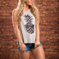 Too Cool For School Tank, Heather Gray