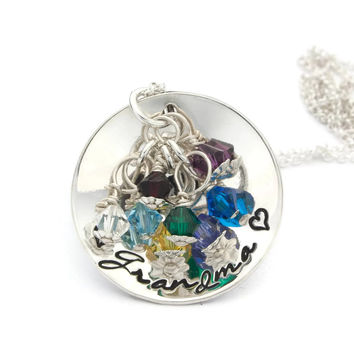 Grandma's Love, Personalized Necklace with Birthstones