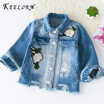 Keelorn Jackets & Coats 2017 Denim Vintage Jeans Jackets Toddler Baby Denim Jackets Girls Jean Jacket Flower Embroidery 3-7Y