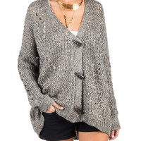 Shredded Back Knitted Cardigan - M/L - Gray /