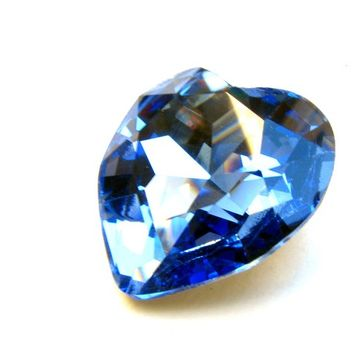 SAPPHIRE - Large Sky Blue Heart Shaped Swarovski Crystal - 28mm Jewelry Supplies