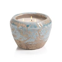Zodax Provence Bleu Cement Scented 3 Wick Candle Pot