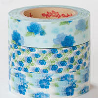 Rink Washi Masking Tape - Blue Flowers - Set 3