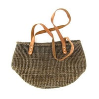 Vintage Woven Jute Ethnic Market Bag. dark green and leather bag.