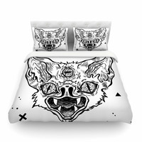 "Anya Volk ""It's Bat"" Black White Featherweight Duvet Cover"