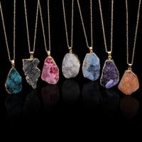 HOT Natural Crystal Quartz Healing Point Chakra Bead Gemstone Necklace Pendant  WIWU