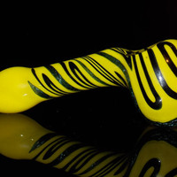 Huge Electric Yellow and Black Sparkly Dichro Zig Zag Droop Hammer Style Spoon Bowl - Heady Glass Smoking Pipe w/ Shocking Vivid Colors