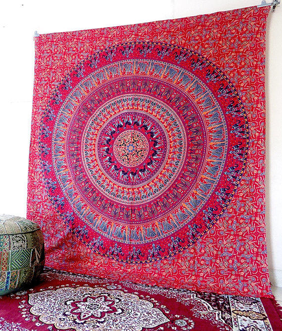 New Large Red Grateful Dead Mandala Dancing Bears Wall Hanging Decor Tapestry