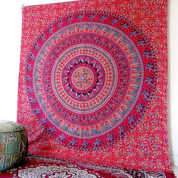 LARGE pink mandala tapestry, bohemian hippie wall hanging, hippy boho bedding throw bedspread, ethnic mandala home decor