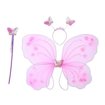 Girl's Butterfly Costume Set Wings Headband Fairy Magic Wand