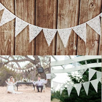 12 Flags - 3.2M Fabric Banners Wedding decoration White Flower Lace Bunting Vintage Party Birthday Decoration Garland