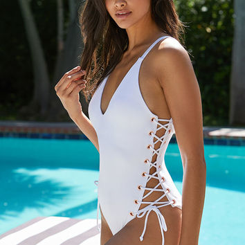 LA Hearts Ribbed Side Lace-Up One Piece Swimsuit at PacSun.com