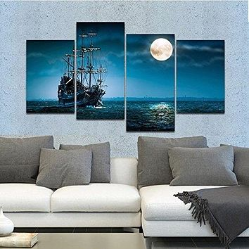 Full Moon Ocean Ship 4-Panel Seascape Framed Canvas Wall Art