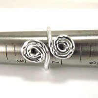 Ring Adjustable Silver Spiral Aluminum