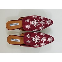 CR Pointy Toe Wine Vegan Suede Flats Mules Clog Embroidered Bee Design Slippers