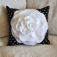 White and Black Polka Dot Rose Throw Pillow by bedbuggs on Etsy