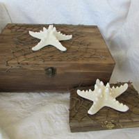 Rustic Stained Aged Nautical Beach Card and Ring Box Set HIS HERS divided Driftwood Net Starfish