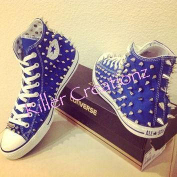 QIYIF silver spiked high top converse any size color made to order