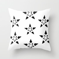 Seven Black Stars Throw Pillow by Jensen Merrell Designs