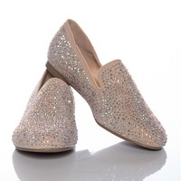 Sensationally Sensible Studded Smoking Slippers - Nude from Alba Footwear at Lucky 21