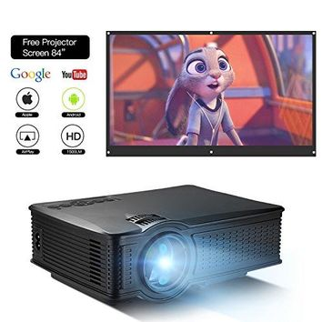 "DOACE P1 HD 1080P Video Projector Indoor Outdoor with Portable Projector Screen 84"","