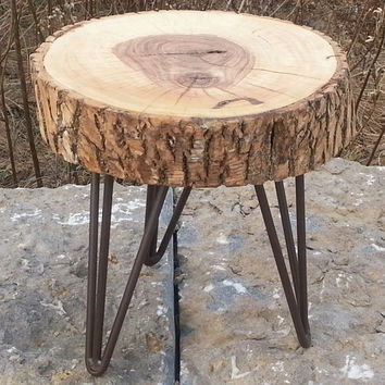 Log Round, Plant Stand, Wooden Table, Side Table, Live Edges, Stool, Rustic, Modern, Mid Century, Step Stool, Wood, Bark, Ash, Hairpin Legs